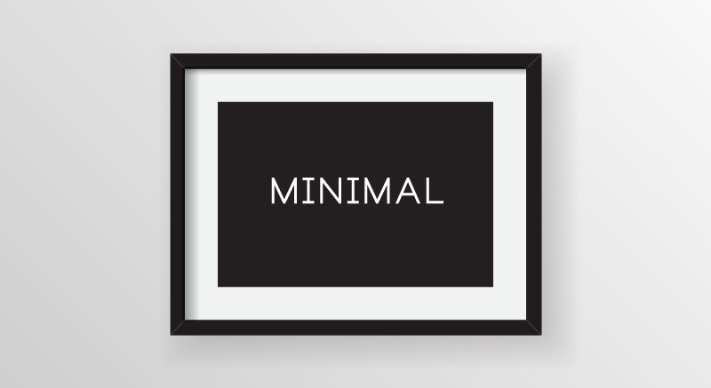 Minimal black & white picture frame on wall