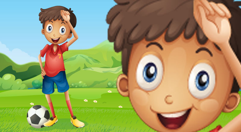 Cartoon boy playing football soccer with pixelated enlarged raster bitmap image