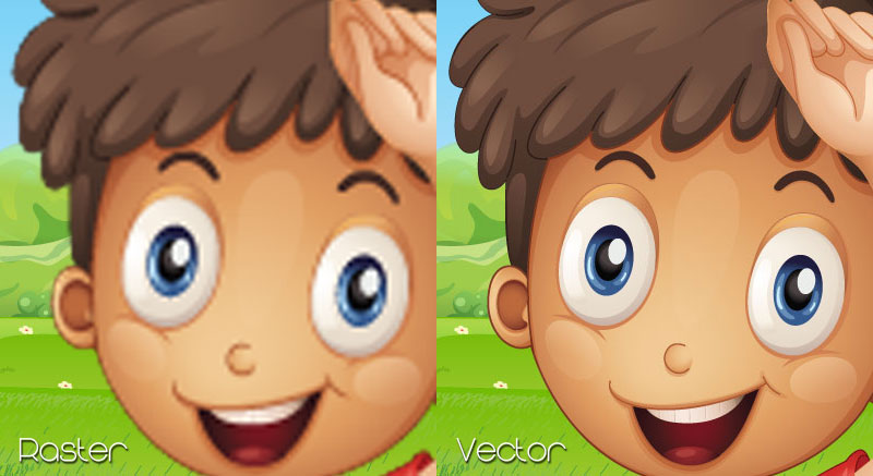 Cartoon boy playing football soccer on grass vector raster image comparison