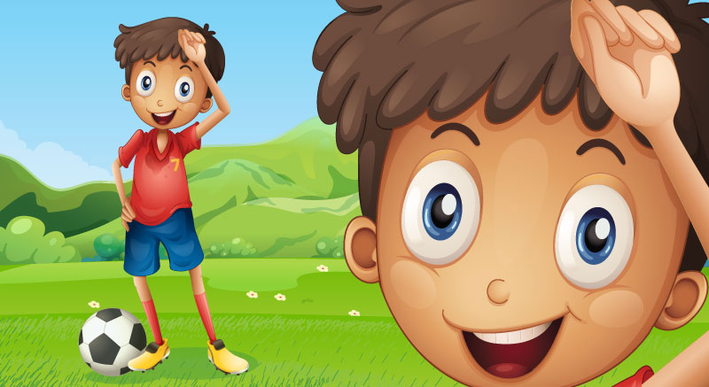 Cartoon boy playing football soccer on grass with clear enlarged vector image zoom